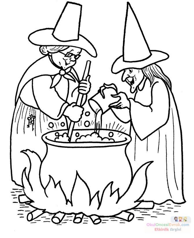 Okul öncesinde Cadı Boyama Sayfası 23 Preschool Activity