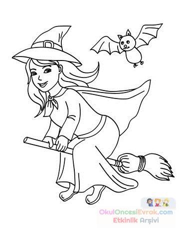 Okul öncesinde Cadı Boyama Sayfası 32 Preschool Activity