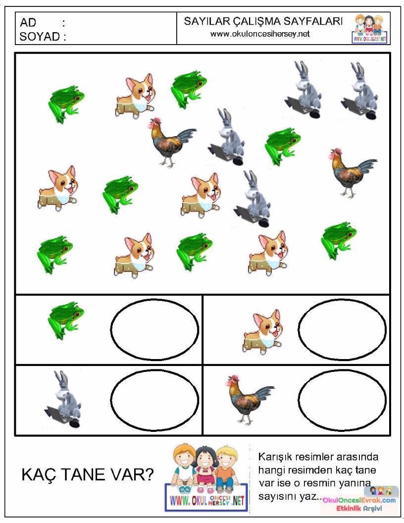 Okul öncesi Sayı çalışma Sayfası 10 Preschool Activity