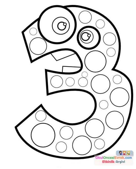 3 Sayisi Boyama 6 Preschool Activity
