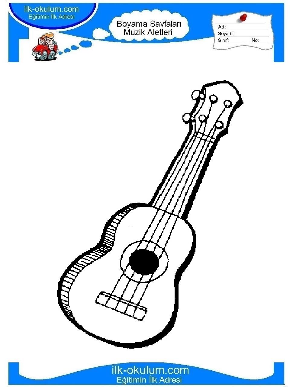 çocuklar Için Gitar Müzik Aletleri Boyama Sayfası 6 Preschool Activity