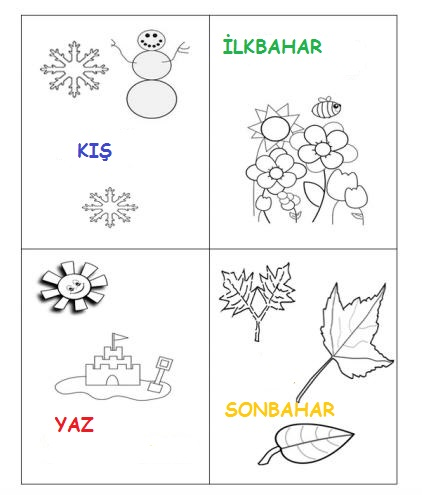 Mevsim Seridi Boyama 6 Preschool Activity