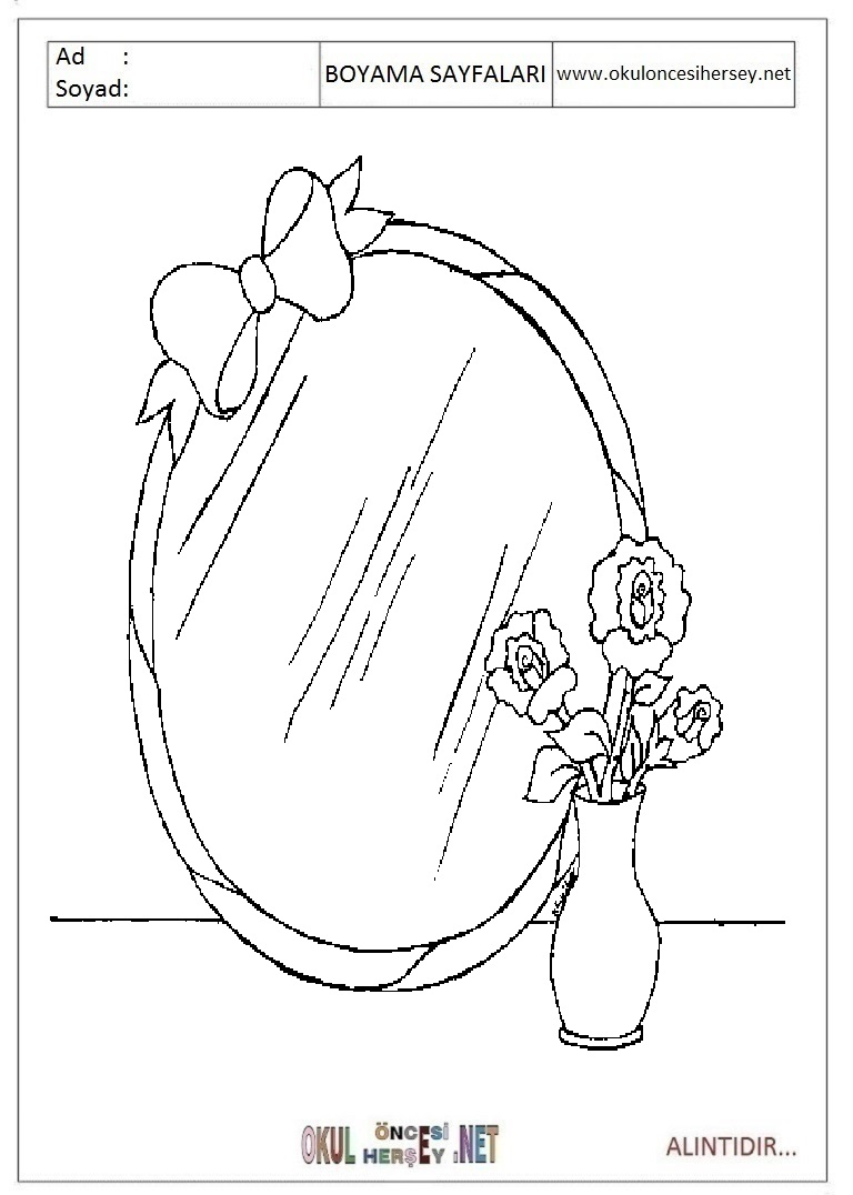 Okul öncesi çocuklar Için Eşyalar Ayna Boyama Sayfaları 3