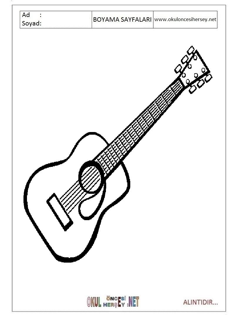 Okul öncesi çocuklar Için Müzik Aletleri Gitar Boyama Sayfaları 26