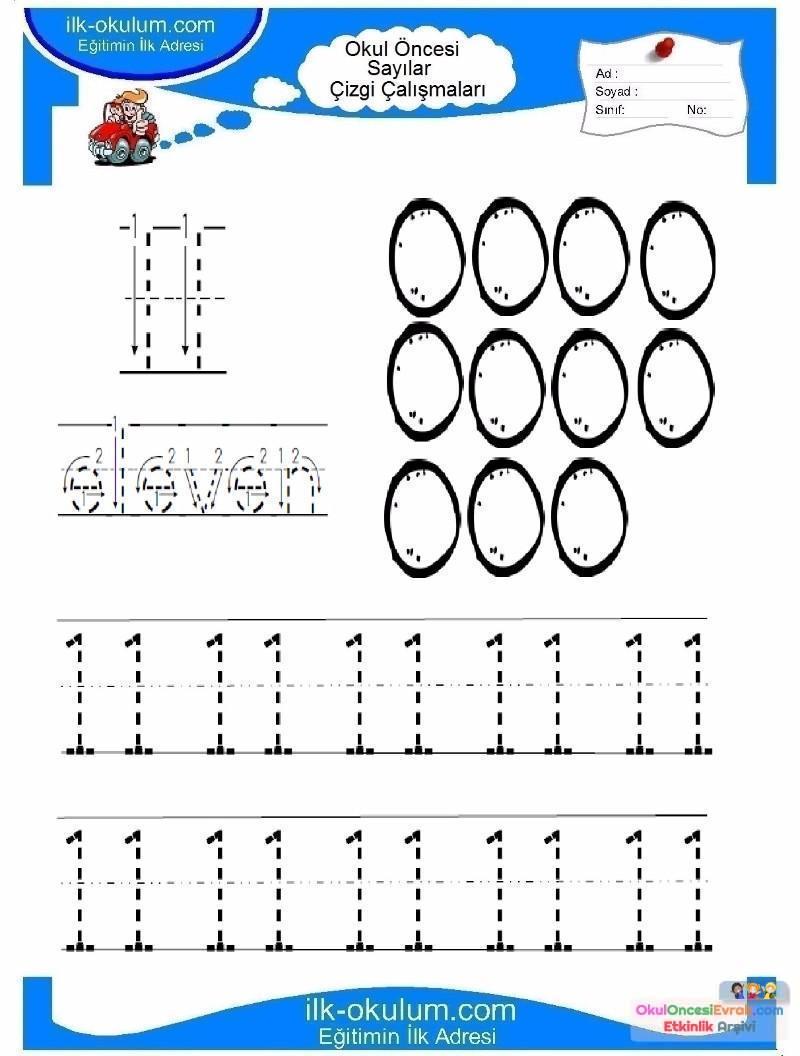 Okul öncesi Rakamlar çizgi Tamamlama 11 Preschool Activity