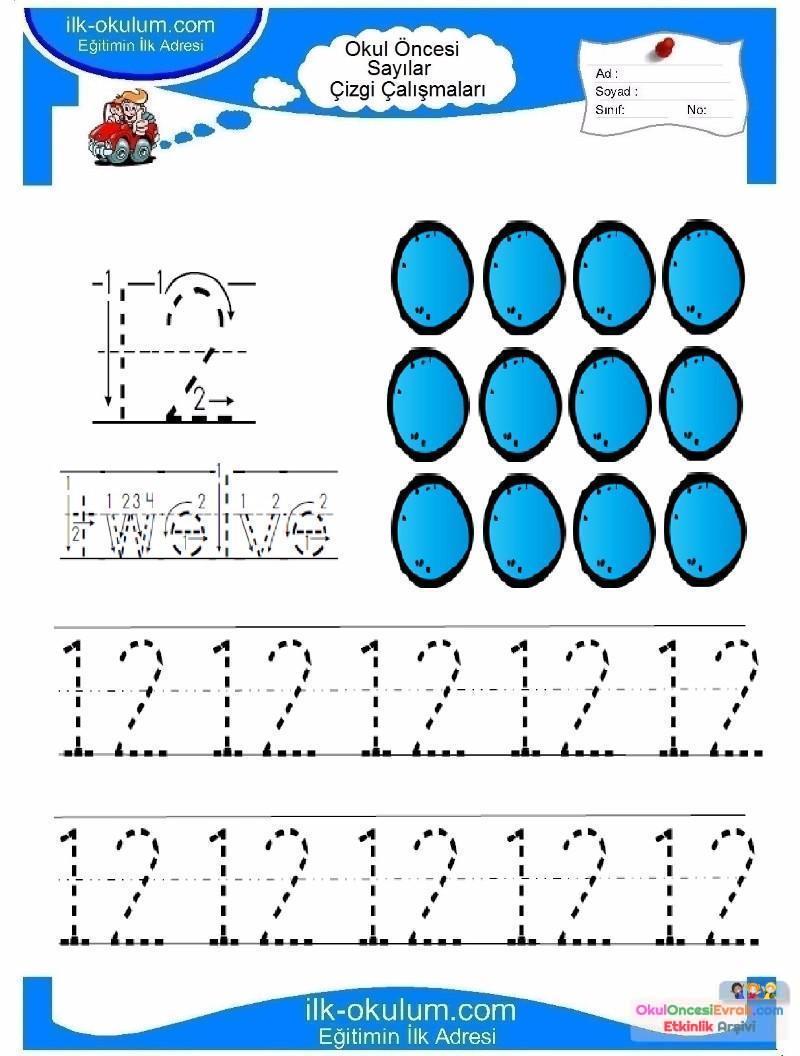 Okul öncesi Rakamlar çizgi Tamamlama 12 Preschool Activity