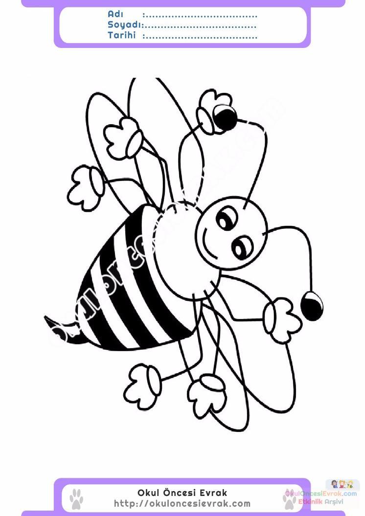 çocuklar Için Arı Hayvan Boyama Sayfası 7 Preschool Activity