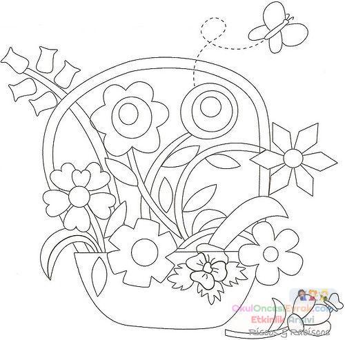 Saksı Kalıbı çiçek Boyama Artık Materyal 233 Preschool Activity