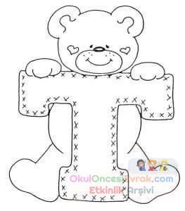Ayıdan Harf Boyama Sayfası Preschool Activity