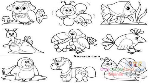Ogrencilere Basit Kolay Hayvan Boyama Sayfalari Preschool Activity