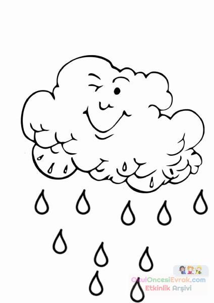 Yağmur Bulutu Boyama Sayfaları Preschool Activity