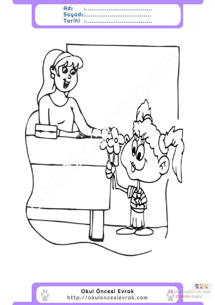 öğretmenler Günü Belirli Gün Ve Haftalar Boyama Sayfası 9