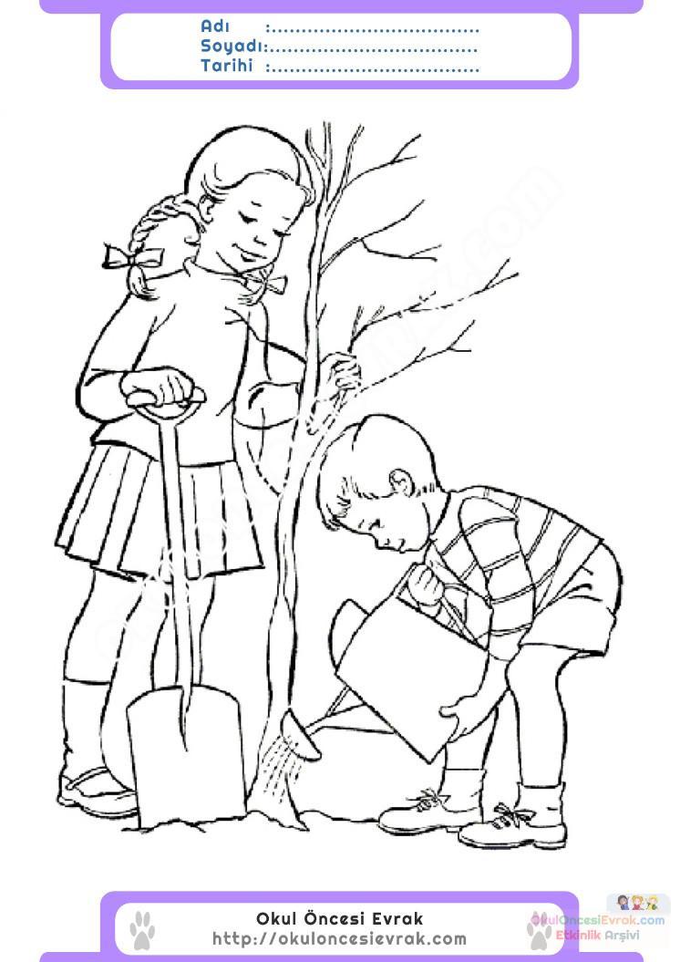 Orman Haftası Belirli Gün Ve Haftalar Boyama Sayfası 3 Preschool