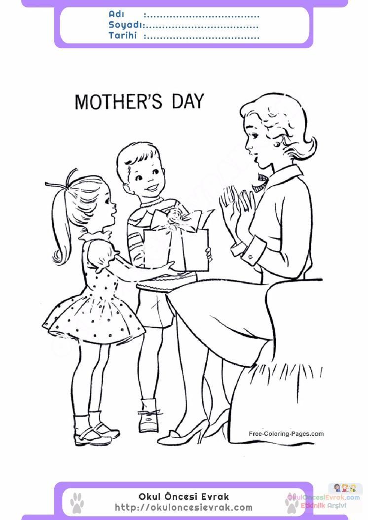 Anneler Günü Belirli Gün Ve Haftalar Boyama Sayfası 13 Preschool