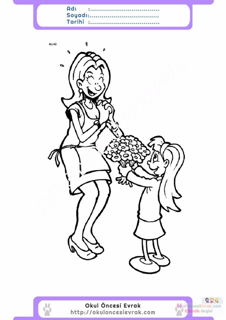 Anneler Günü Belirli Gün Ve Haftalar Boyama Sayfası 16 Preschool