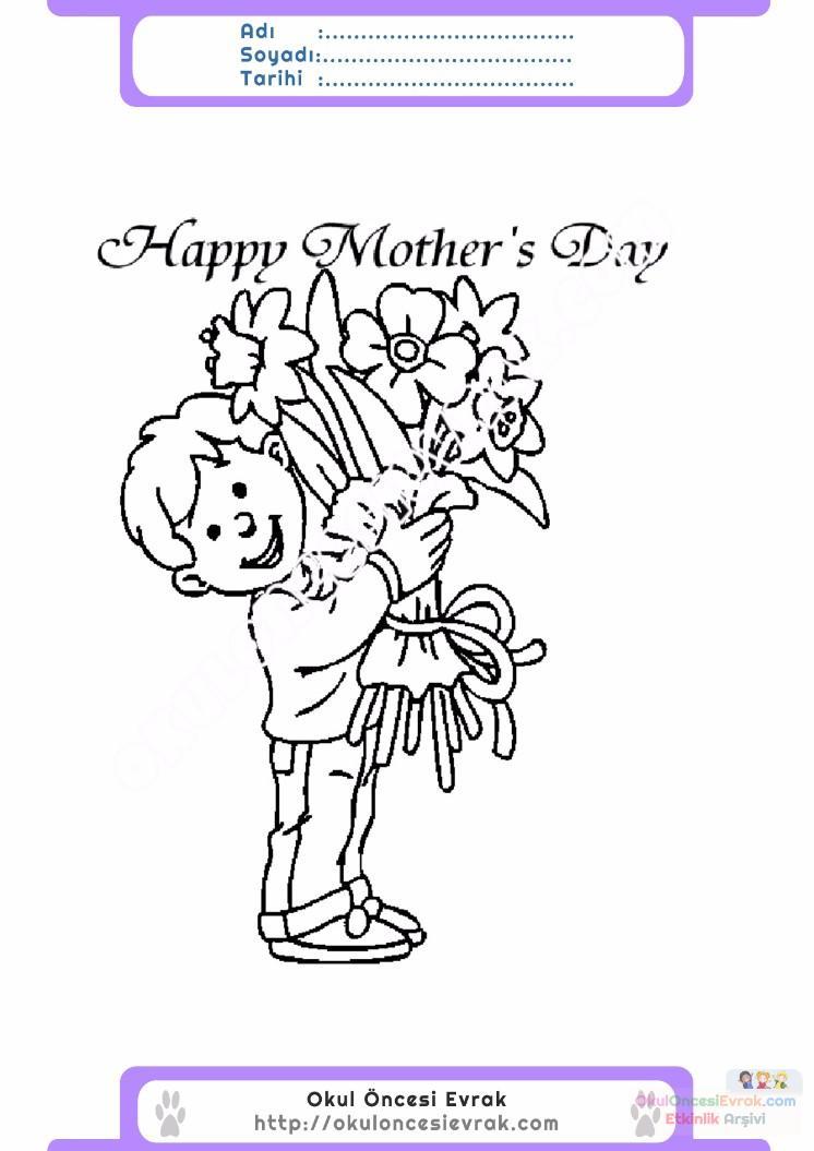 Anneler Günü Belirli Gün Ve Haftalar Boyama Sayfası 18 Preschool