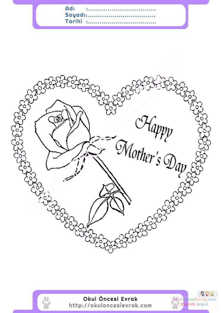Anneler Günü Belirli Gün Ve Haftalar Boyama Sayfası 23 Preschool