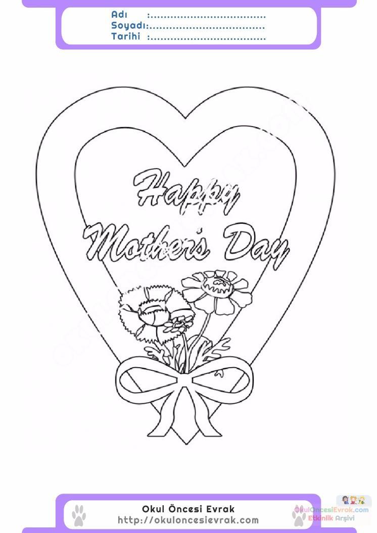 Anneler Günü Belirli Gün Ve Haftalar Boyama Sayfası 24 Preschool