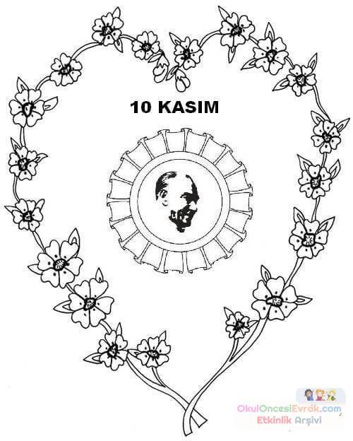 10 Kasim Boyama Sayfalari 2 Preschool Activity