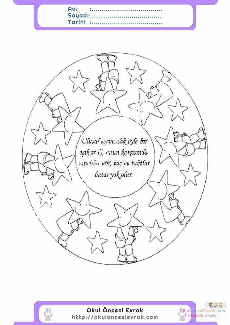23 Nisan Belirli Gün Ve Haftalar Boyama Sayfası 18 Preschool Activity