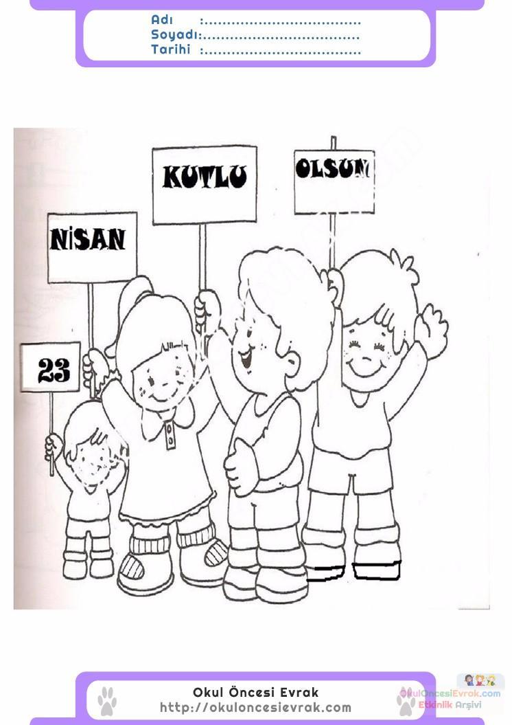 23 Nisan Belirli Gün Ve Haftalar Boyama Sayfası 22 Preschool Activity