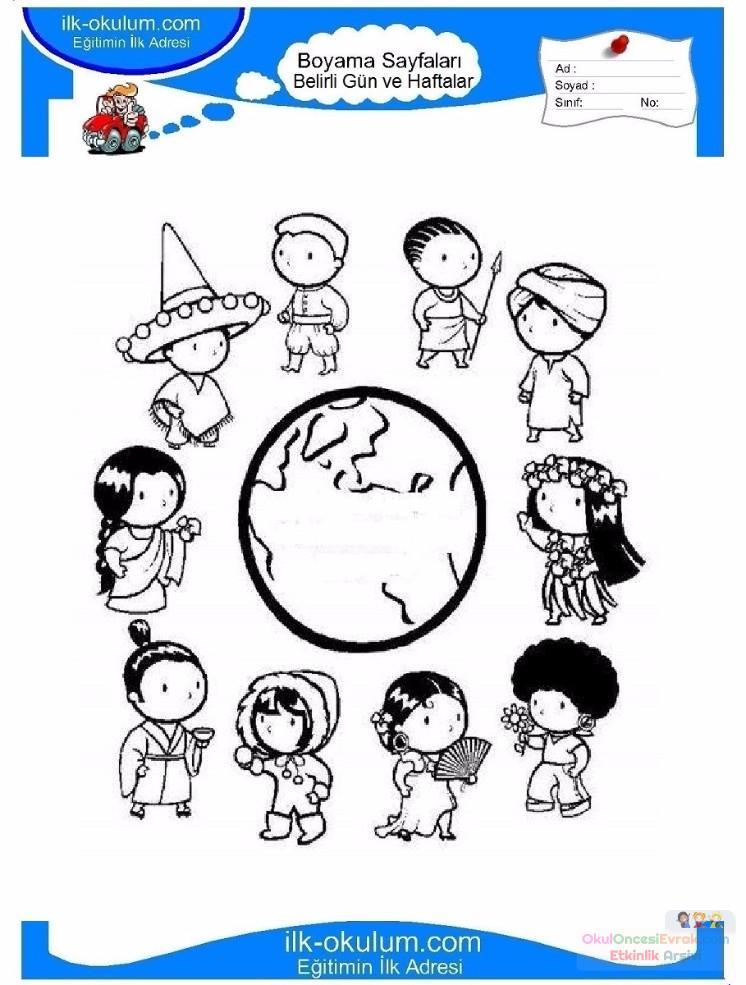 23 Nisan Belirli Gün Ve Haftalar Boyama Sayfası 23 Preschool Activity