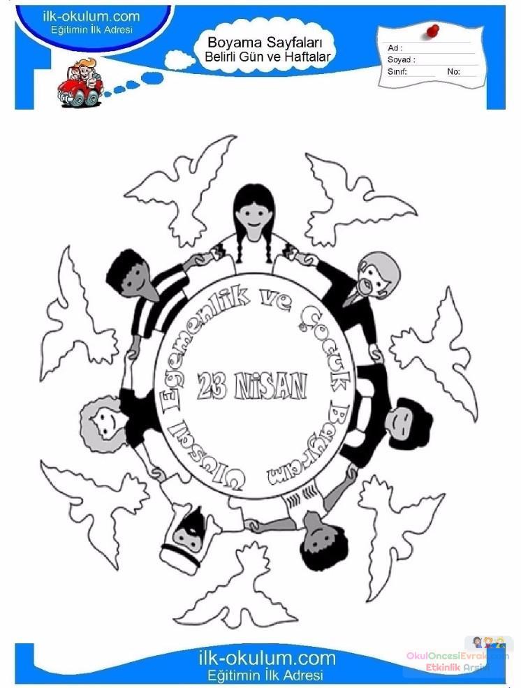 23 Nisan Belirli Gün Ve Haftalar Boyama Sayfası 7 Preschool Activity