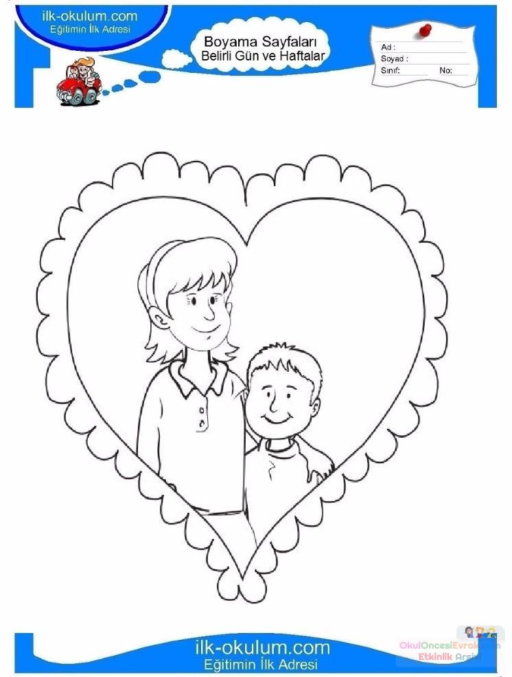 Anneler Günü Belirli Gün Ve Haftalar Boyama Sayfası 5 Preschool