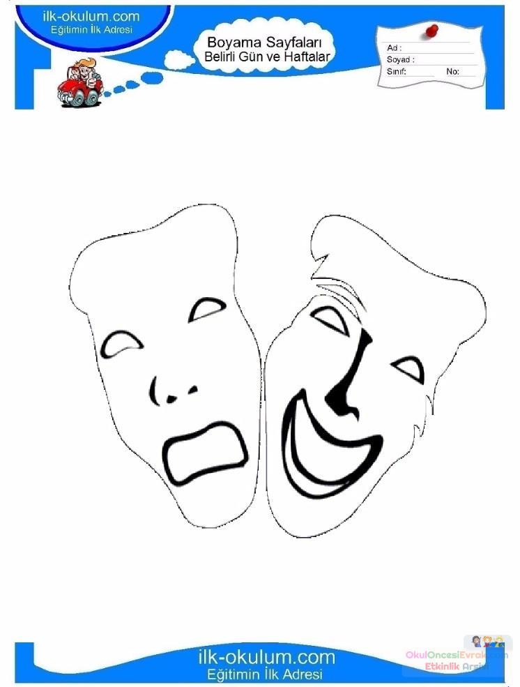 Dünya Tiyatrolar Günü Belirli Gün Ve Haftalar Boyama Sayfası 1