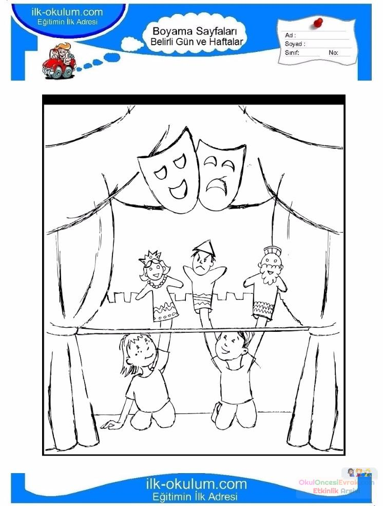 Dünya Tiyatrolar Günü Belirli Gün Ve Haftalar Boyama Sayfası 8