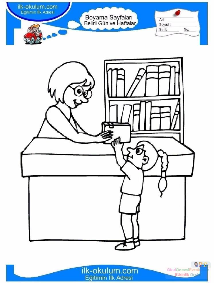 Kütüphaneler Haftası Belirli Gün Ve Haftalar Boyama Sayfası 1