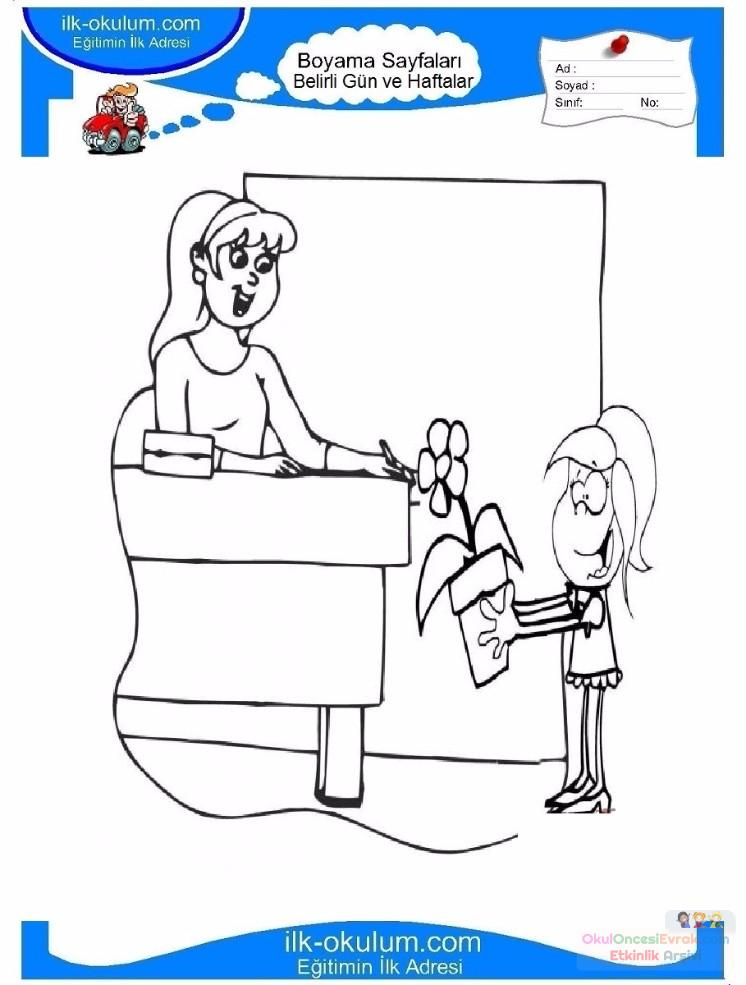 öğretmenler Günü Belirli Gün Ve Haftalar Boyama Sayfası 10