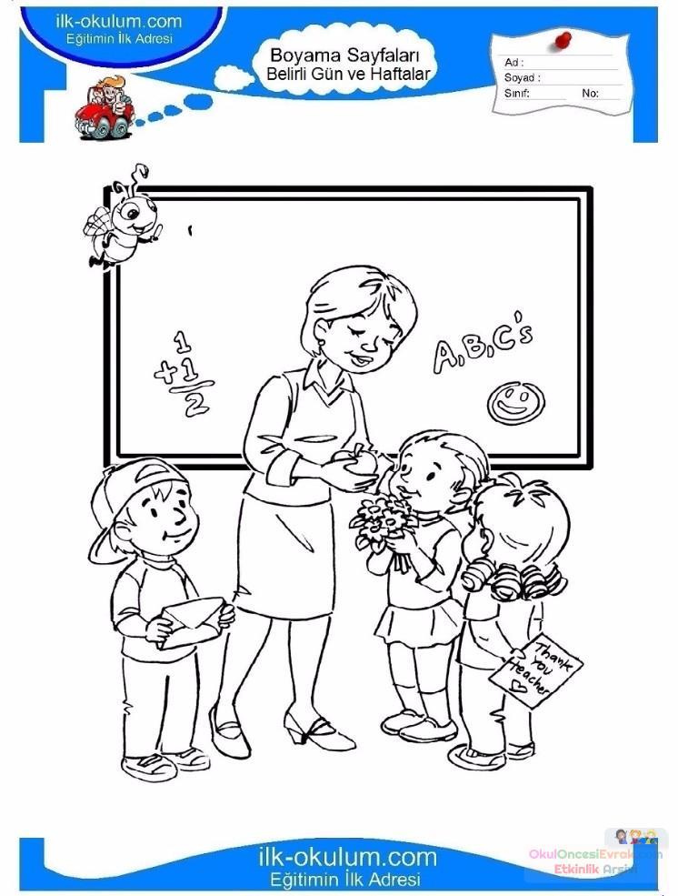 öğretmenler Günü Belirli Gün Ve Haftalar Boyama Sayfası 2