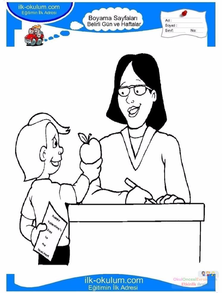 öğretmenler Günü Belirli Gün Ve Haftalar Boyama Sayfası 7