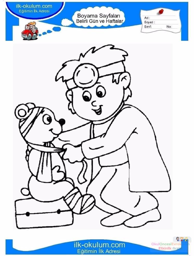 Sağlık Haftası Belirli Gün Ve Haftalar Boyama Sayfası 7 Preschool