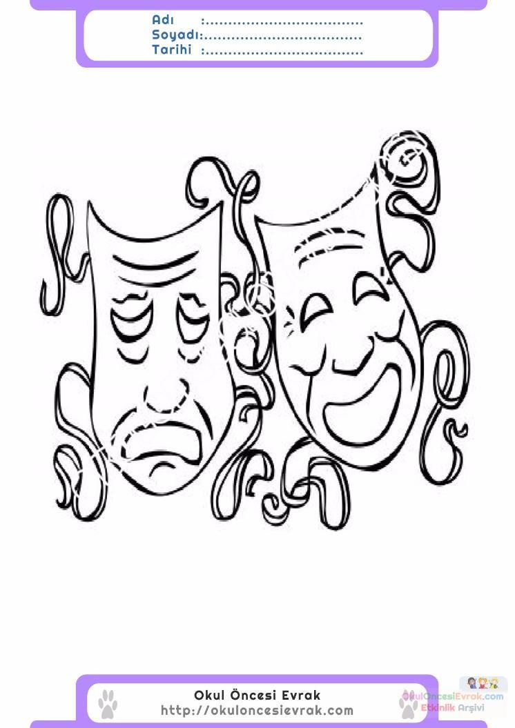 Dünya Tiyatrolar Günü Belirli Gün Ve Haftalar Boyama Sayfası 7