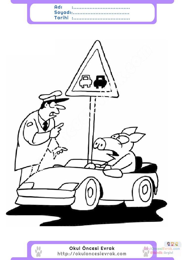 Trafik Ve Ilkyardım Haftası Belirli Gün Ve Haftalar Boyama Sayfası 3