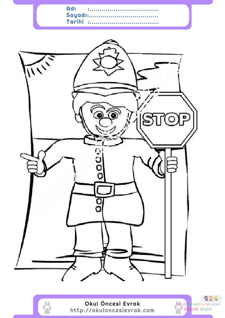 Okul Oncesi Trafik Polisi Boyama Ust Ev Boyama Sayfasi