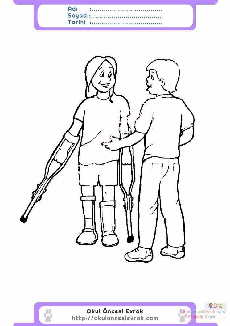 Engelliler Haftası Belirli Gün Ve Haftalar Boyama Sayfası 5