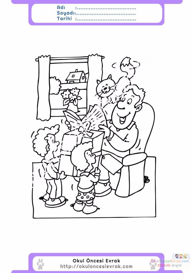 Babalar Günü Belirli Gün Ve Haftalar Boyama Sayfası 1 Preschool