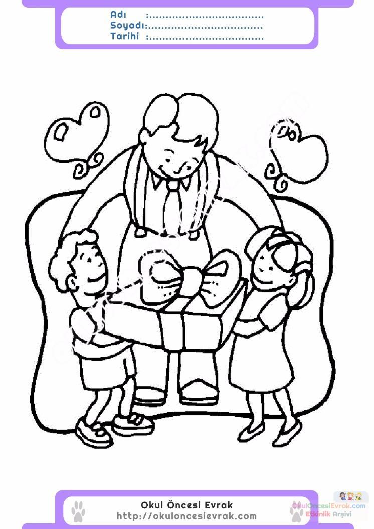 Babalar Günü Belirli Gün Ve Haftalar Boyama Sayfası 11 Preschool
