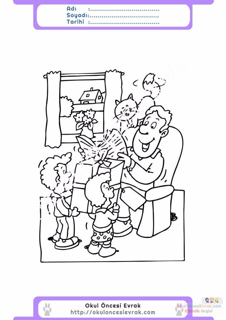 Babalar Günü Belirli Gün Ve Haftalar Boyama Sayfası 17 Preschool
