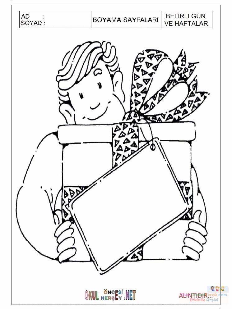 Okul öncesi Babalar Günü Boyama Sayfası 14 Preschool Activity