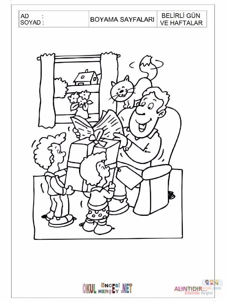 Okul öncesi Babalar Günü Boyama Sayfası 17 Preschool Activity