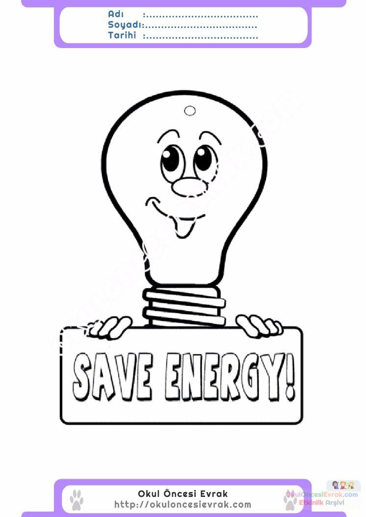 Enerji Tasarrufu Haftası Belirli Gün Ve Haftalar Boyama Sayfası 12