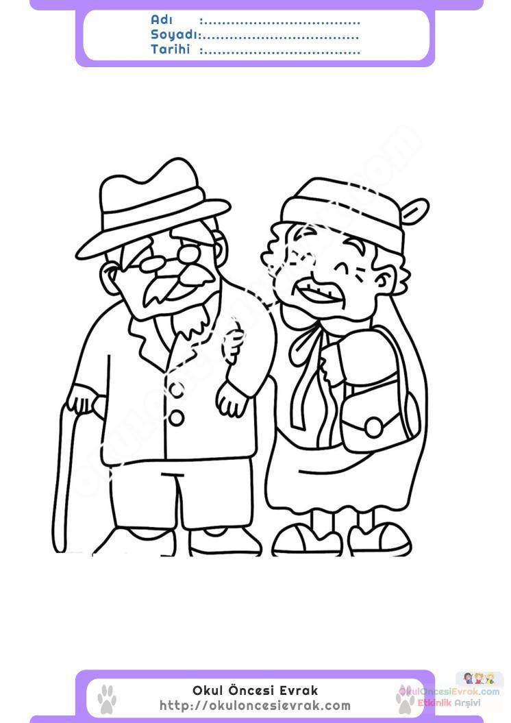Yaşlılar Haftası Belirli Gün Ve Haftalar Boyama Sayfası 4
