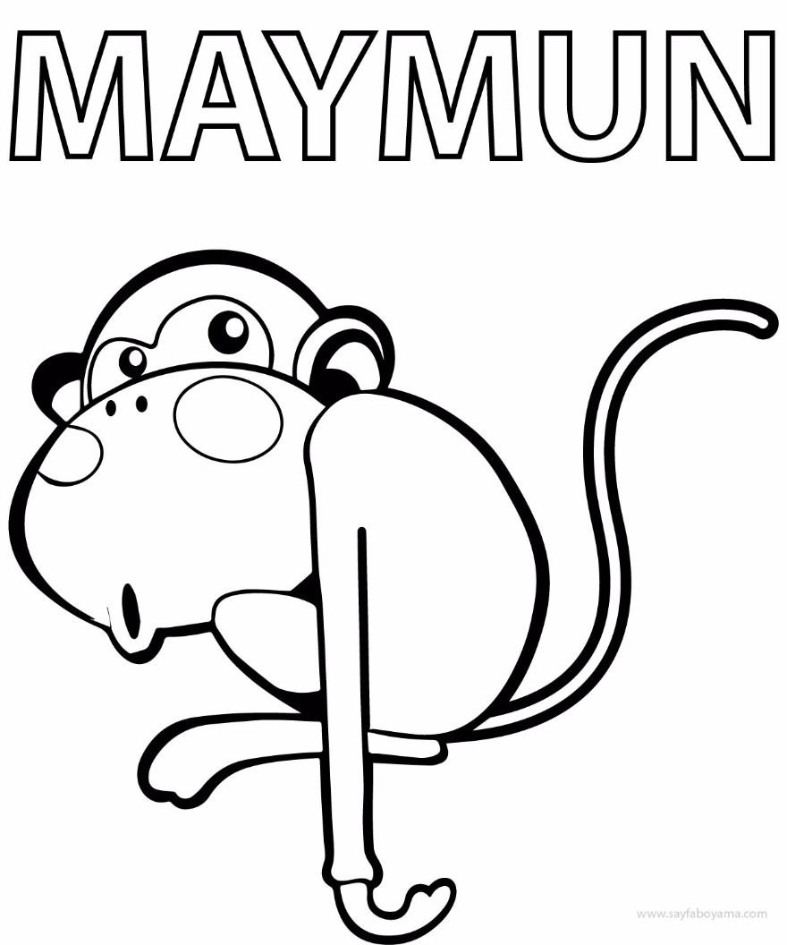 Sevimli Maymun Boyama Sayfasi Preschool Activity
