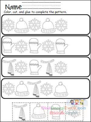 Anasınıfı Kış Mevsimiyle Ilgili örüntü çalışma Sayfası Preschool