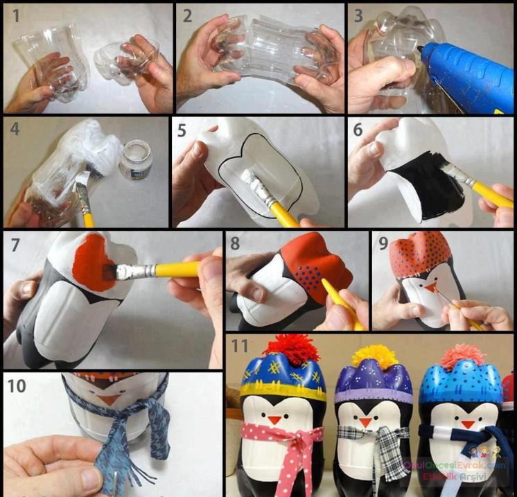 1 litrelik kola şişelerinden penguen yapımı