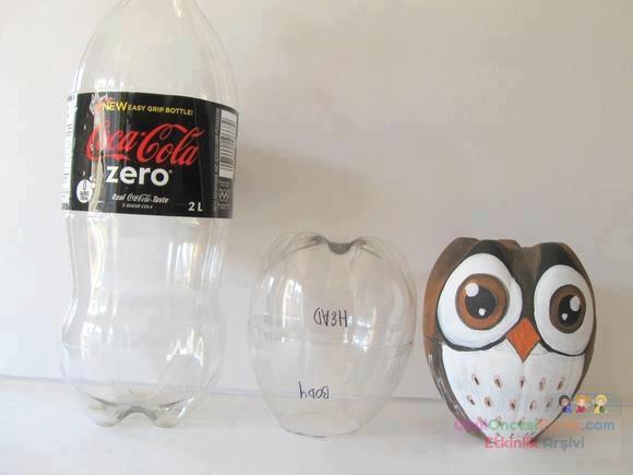 Как сделать из пластиковой бутылке сову